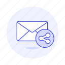 email, envelope, letter, mail, share icon