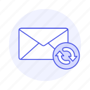 email, envelope, letter, mail, refresh, sync, syncing