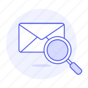 email, emaile, envelope, letter, mail, scan, search, view icon