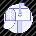 cobweb, email, empty, mailbox, spide, spiderweb, web icon