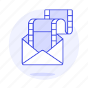 attachment, content, email, mail, media, movie, video icon