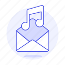 attachment, audio, content, email, mail, media, music, song, voicenote icon