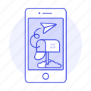 email, mailbox, message, mobile, paper, phone, plane, send icon