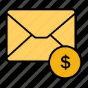 dollar, email, envelop, letter, mail, message