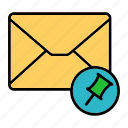 email, envelop, letter, mail, messagepin, pin