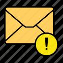 email, envelop, letter, mail, message, warning