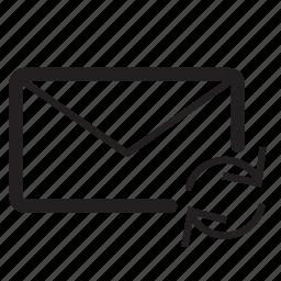 arrow, arrows, circle, email, envelope, message, refresh icon