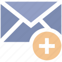 add, email, letter, mail, message, plus