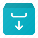 arrow, box, down, download, email, inbox, mail icon