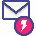 email, envelope, fast, lightning, message icon