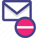 email, line, mail, negative, neutral icon