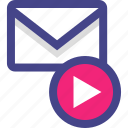 email, envelope, message, play, video icon