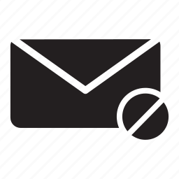 block, delete, email, envelope, mail icon