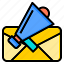announcement, connection, letter, marketing, office, web, work icon