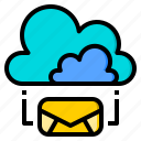 cloud, connection, letter, marketing, office, web, work icon