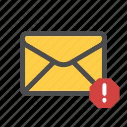 mail, pishing, spam, warning icon