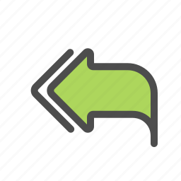 arrow, mail, message, reply all icon