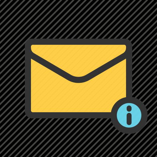 info, information, mail, update icon