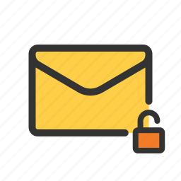 mail, unencrypted, unlocked, unsecured icon