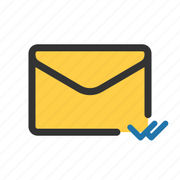 delivered, double checked, mail, read icon