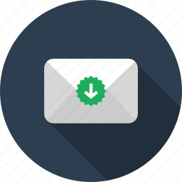 download, envelope, letter, mail, restore, save icon