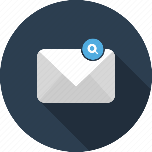 email, envelope, find, letter, magnifier, mail, zoom icon