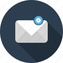 configuration, email, envelope, gear, mail, options, preferences icon