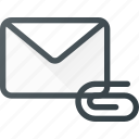 attache, email, envelope, mail, message icon