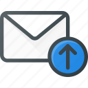 email, envelope, mail, message, upload icon