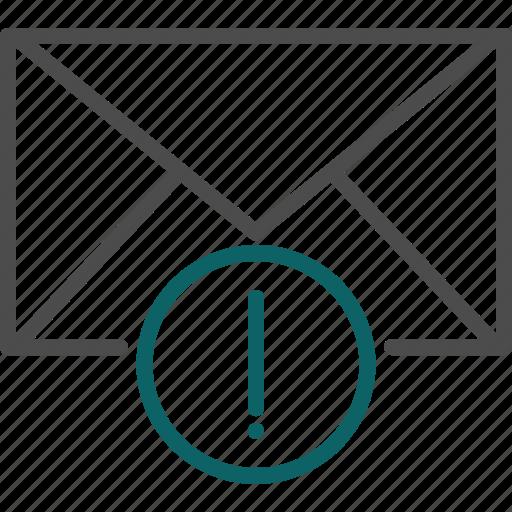 alert, danger, dangerous letter, email alert, warning icon