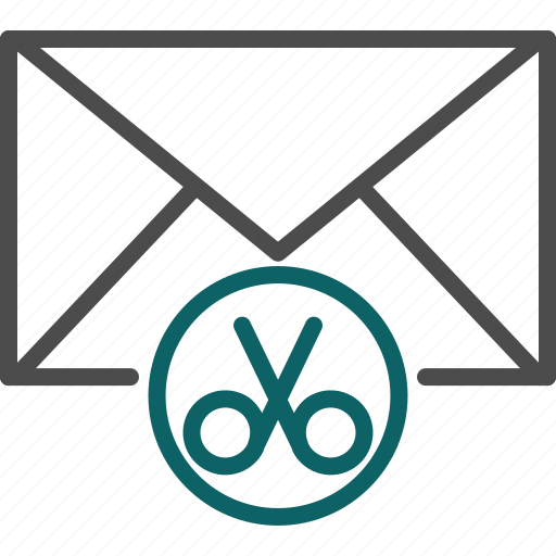 cut, cut email, cut letter, cut message, cutter, scissors icon