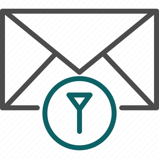 filter, filter email, filter letters, filter messages icon