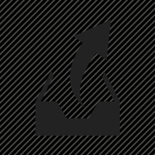 arrow, email, empty, inbox, mail, upload icon