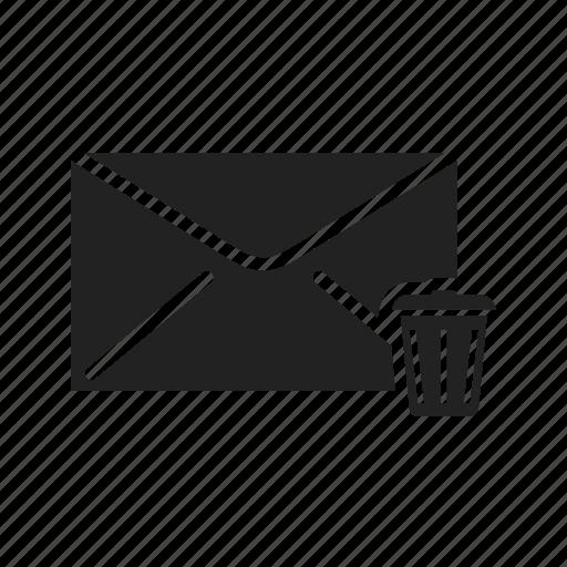 email, empty, garbage, mail, wastebasket icon