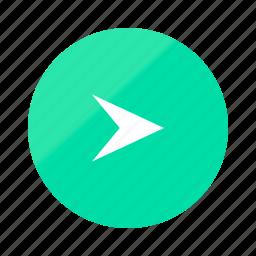 arrow, direction, emerald, gradient, half, navigation, right icon