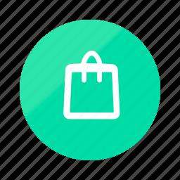 bag, basket, cart, ecommerce, emerald, gradient, half icon