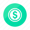 coin, emerald, gradient, half, bank, coins, gold icon