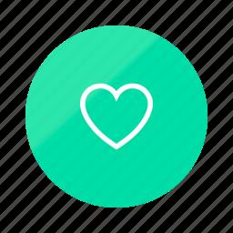 emerald, favorite, favorites, gradient, half, heart, love icon