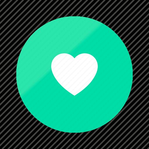 emerald, favorite, fill, gradient, half, heart, love icon