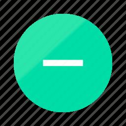 cancel, close, emerald, gradient, half, minus, remove icon