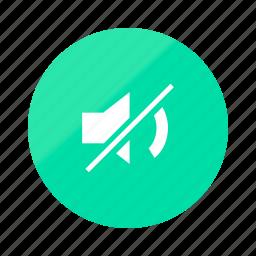 emerald, gradient, half, media, mute, silent, sound icon