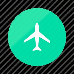 airplane, emerald, flight, gradient, half, plane, travel icon