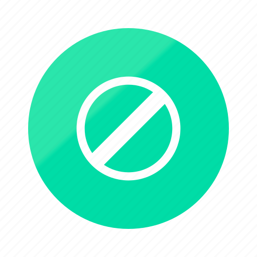 emerald, gradient, half, no, prohibited, restricted, stop icon