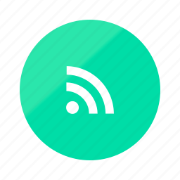 connection, emerald, gradient, half, media, network, rss icon