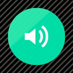 audio, emerald, gradient, half, multimedia, player, volume icon