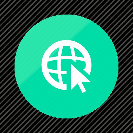 browser, emerald, gradient, half, network, online, web icon