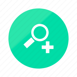 emerald, gradient, half, in, magnifier, magnifying, zoom icon