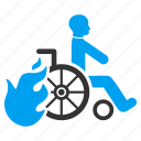 burn, damaged, disabled, fire exit, invalid person, patient chair, wheelchair icon