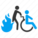 burn, evacuation, fire exit, flame, invalid person, patient chair, wheelchair icon