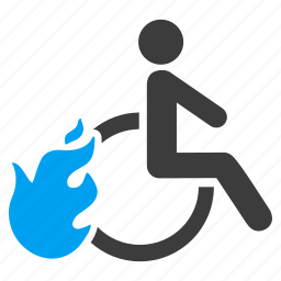 burn, disabled man, fire exit, fired, flame, invalid person, patient chair icon